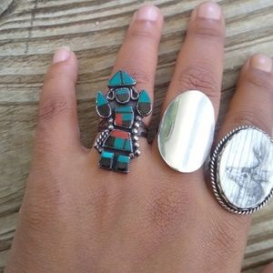 Native American sterling silver Kachina inlay ring